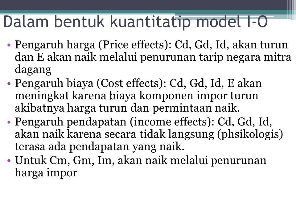 Dalam bentuk kuantitatip model I-O