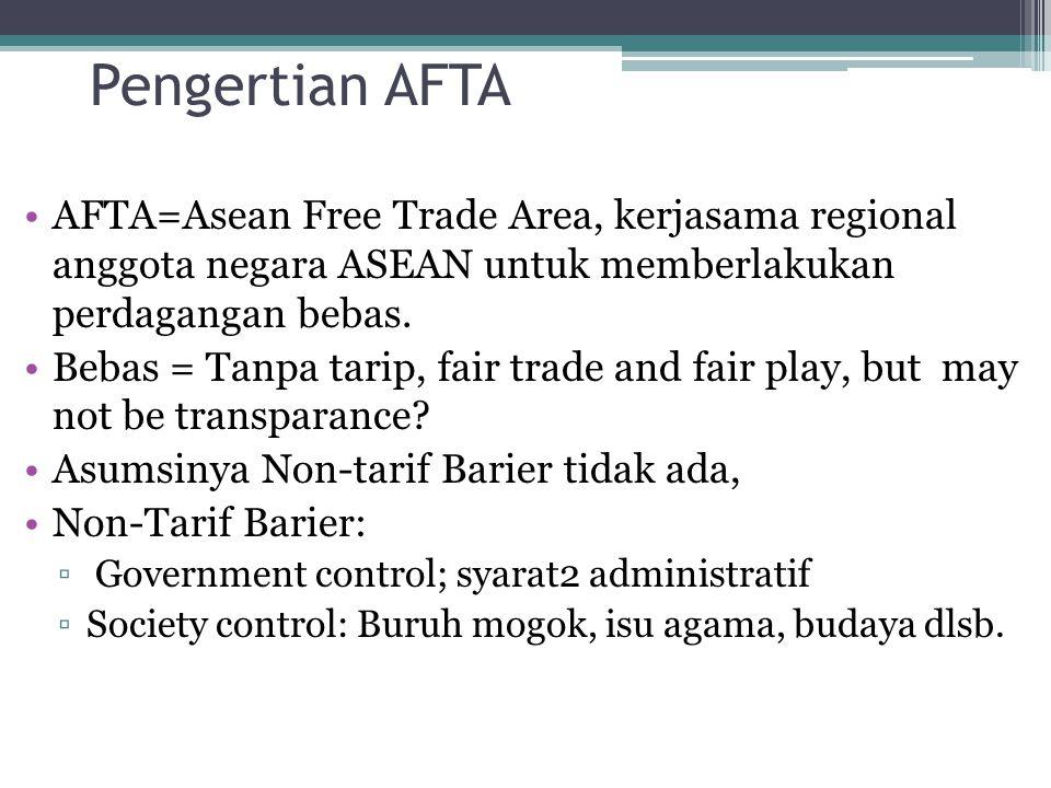 Pengertian AFTA AFTA=Asean Free Trade Area, kerjasama regional anggota negara ASEAN untuk memberlakukan perdagangan bebas.