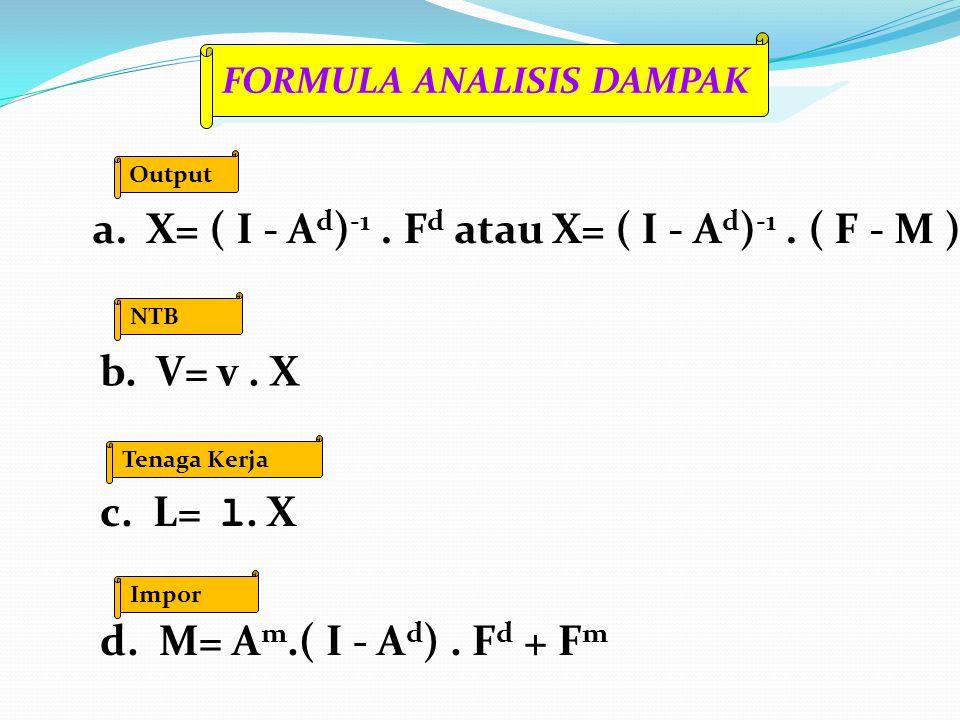 a. X= ( I - Ad)-1 . Fd atau X= ( I - Ad)-1 . ( F - M )