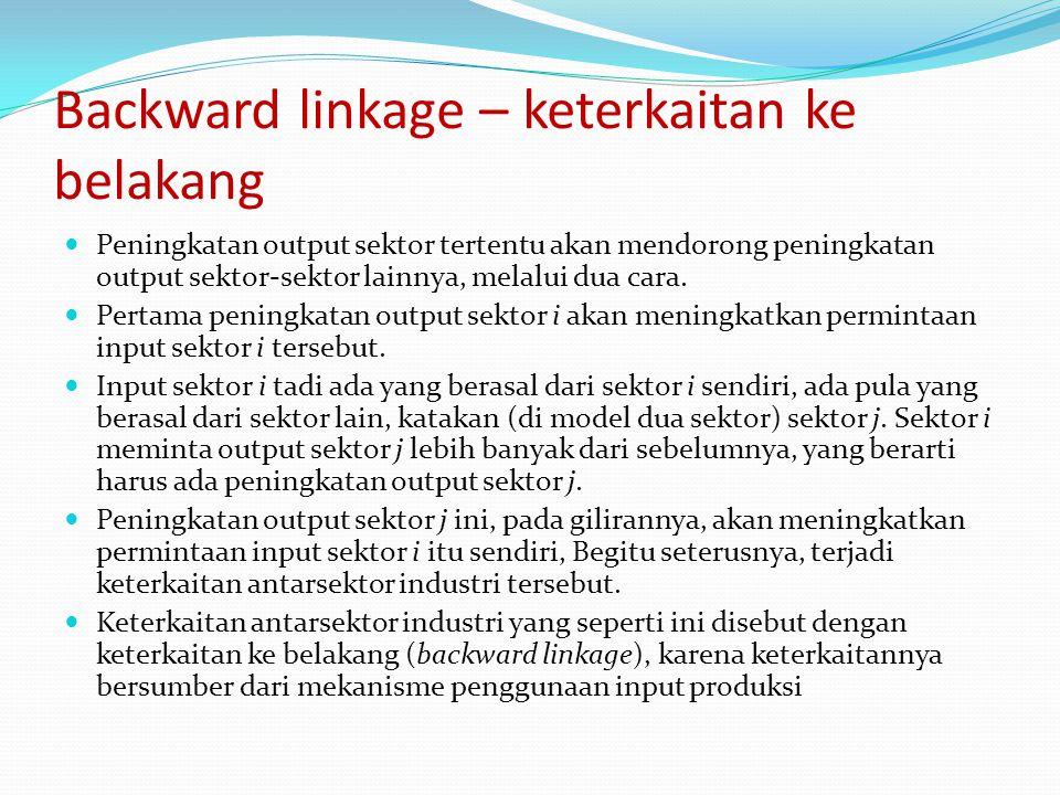 Backward linkage – keterkaitan ke belakang
