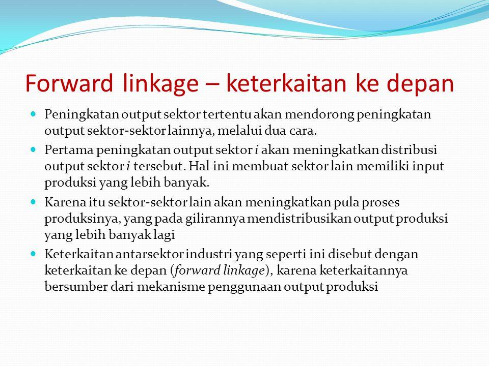 Forward linkage – keterkaitan ke depan