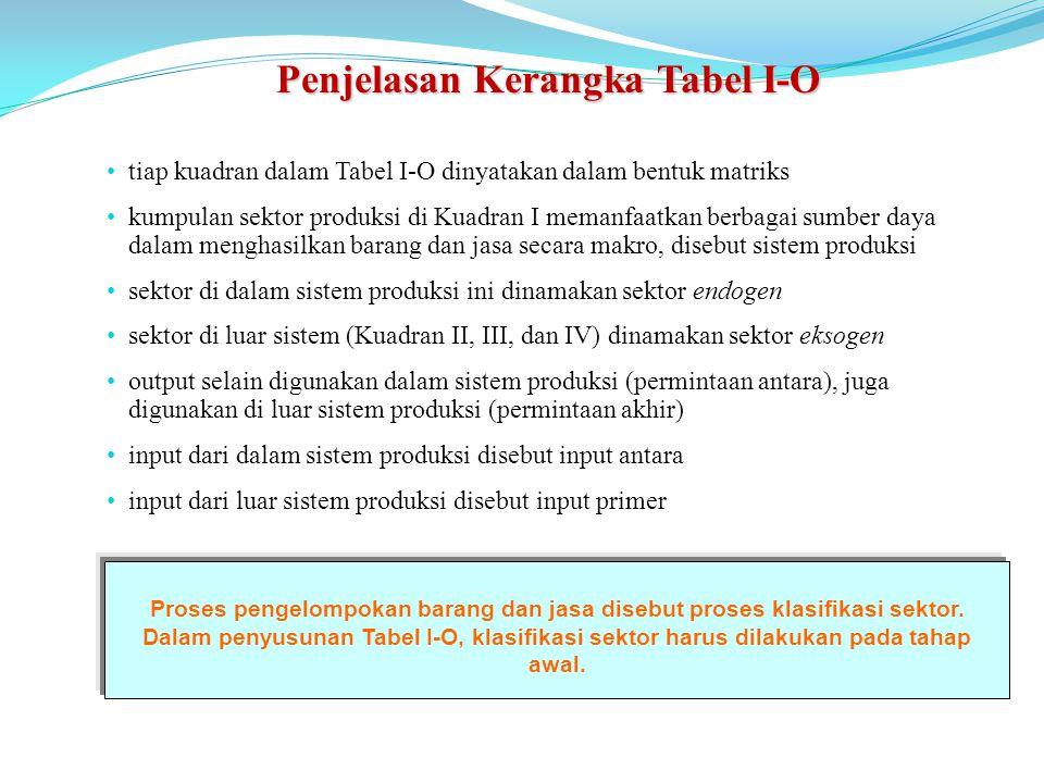 Penjelasan Kerangka Tabel I-O