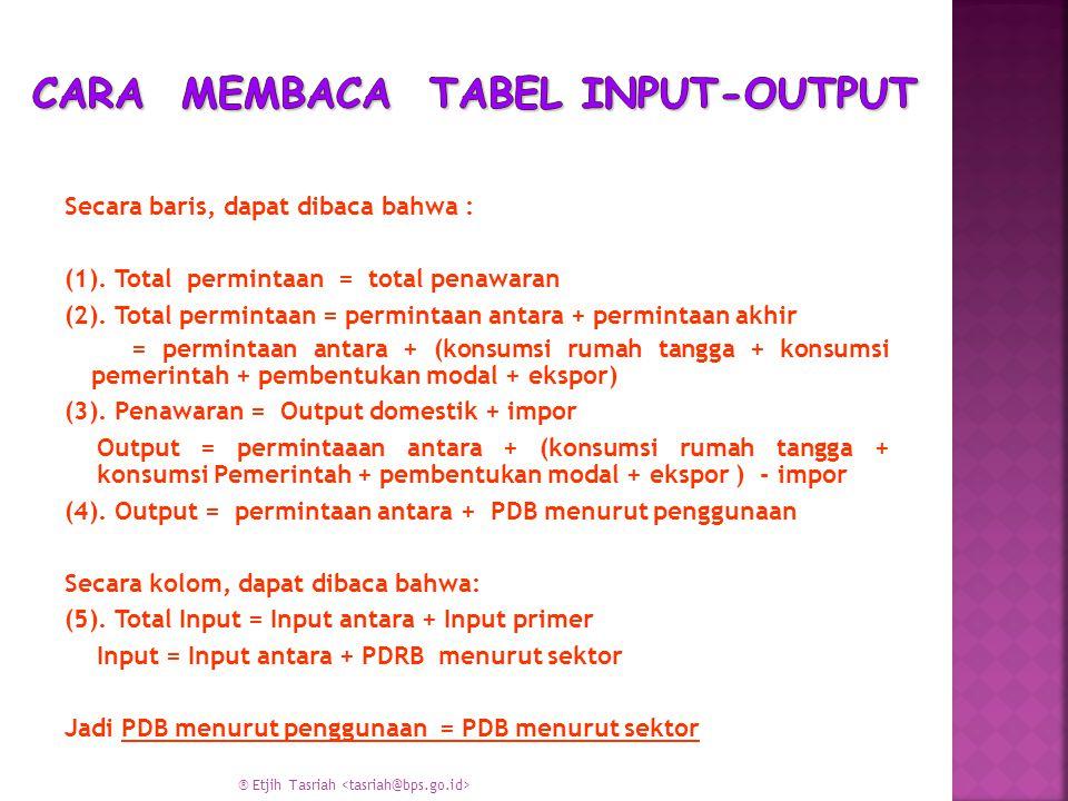 Cara Membaca Tabel Input-Output