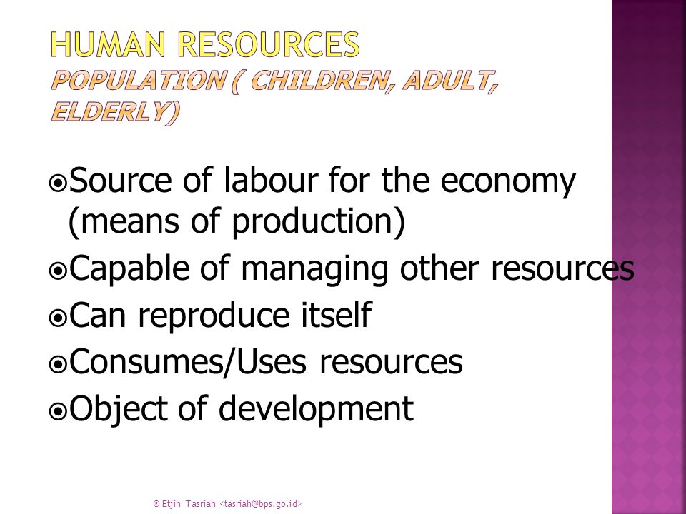 Human Resources Population ( Children, Adult, Elderly)