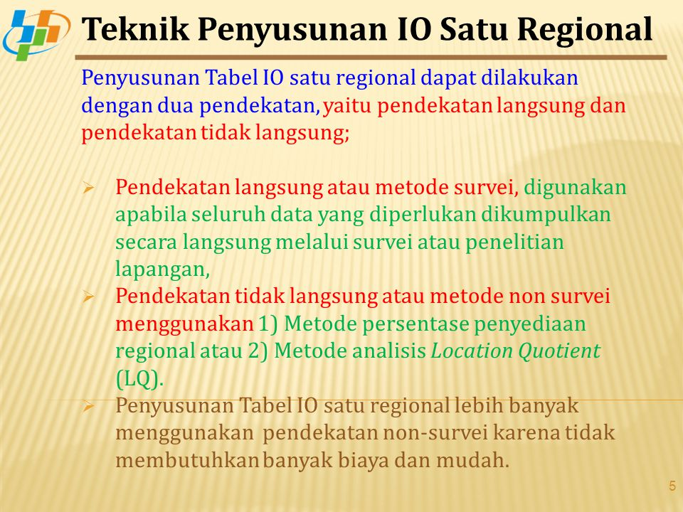 Teknik Penyusunan IO Satu Regional