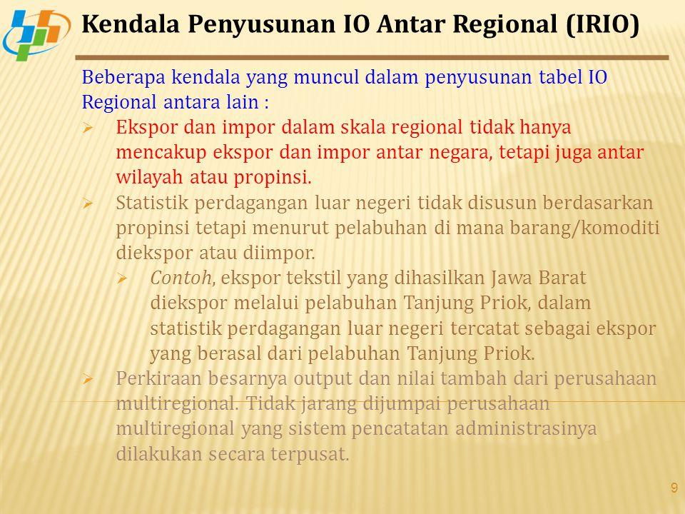 Kendala Penyusunan IO Antar Regional (IRIO)