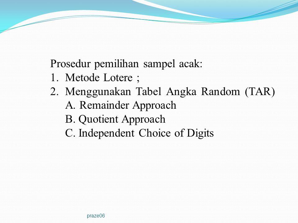 Prosedur pemilihan sampel acak: Metode Lotere ;