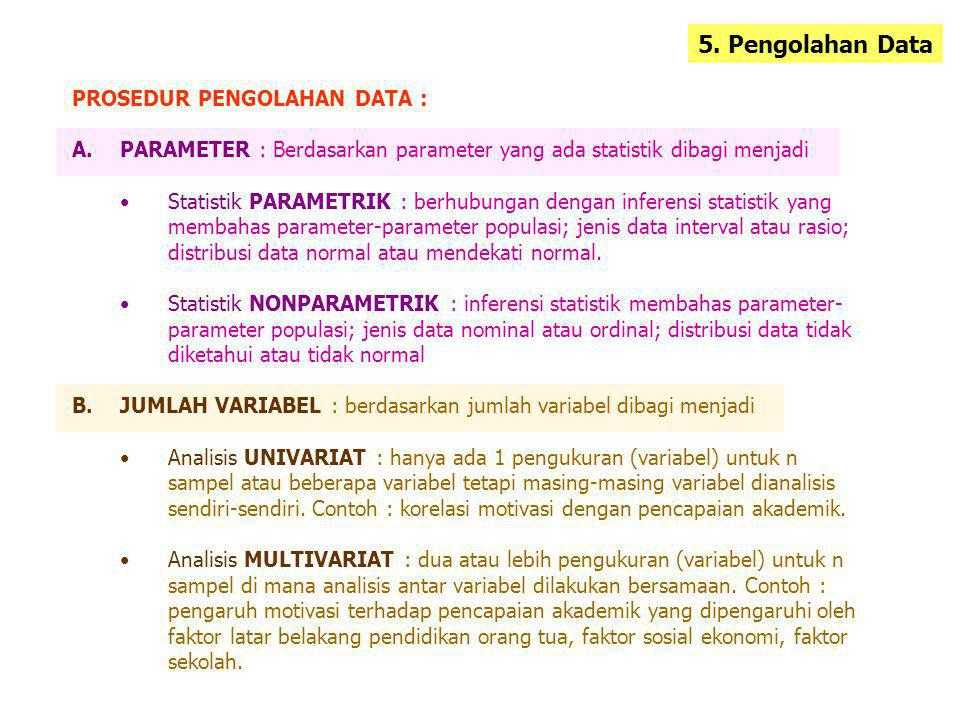 5. Pengolahan Data PROSEDUR PENGOLAHAN DATA :