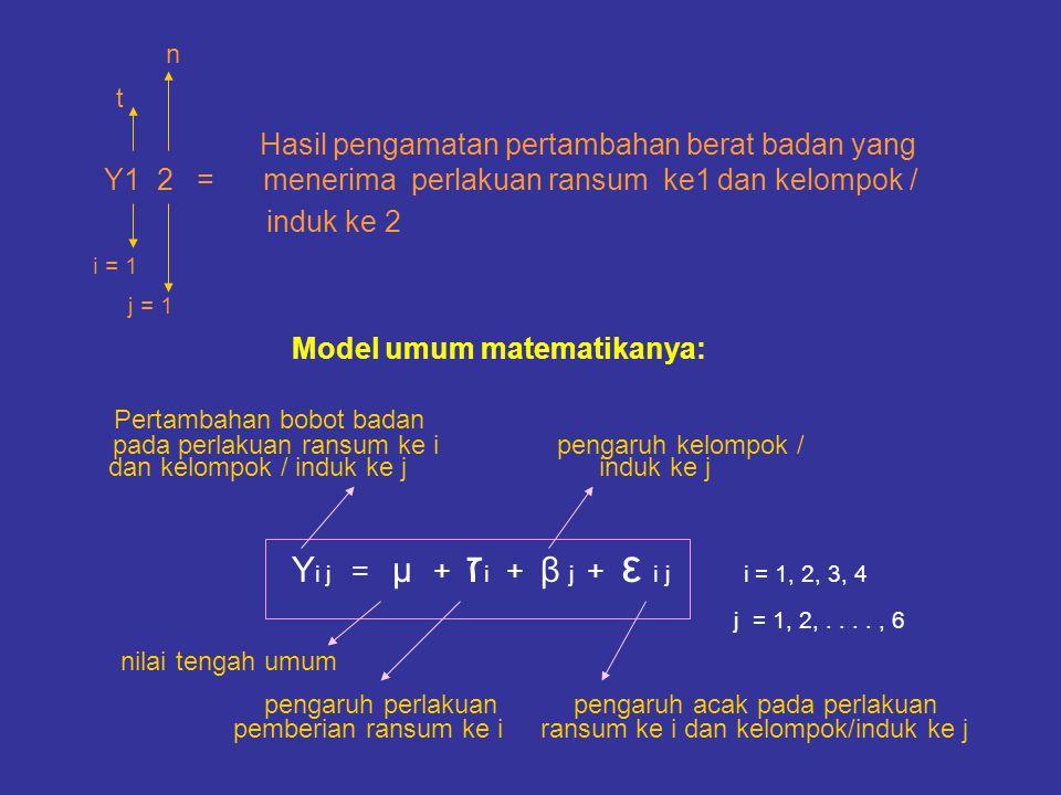 Model umum matematikanya: Pertambahan bobot badan