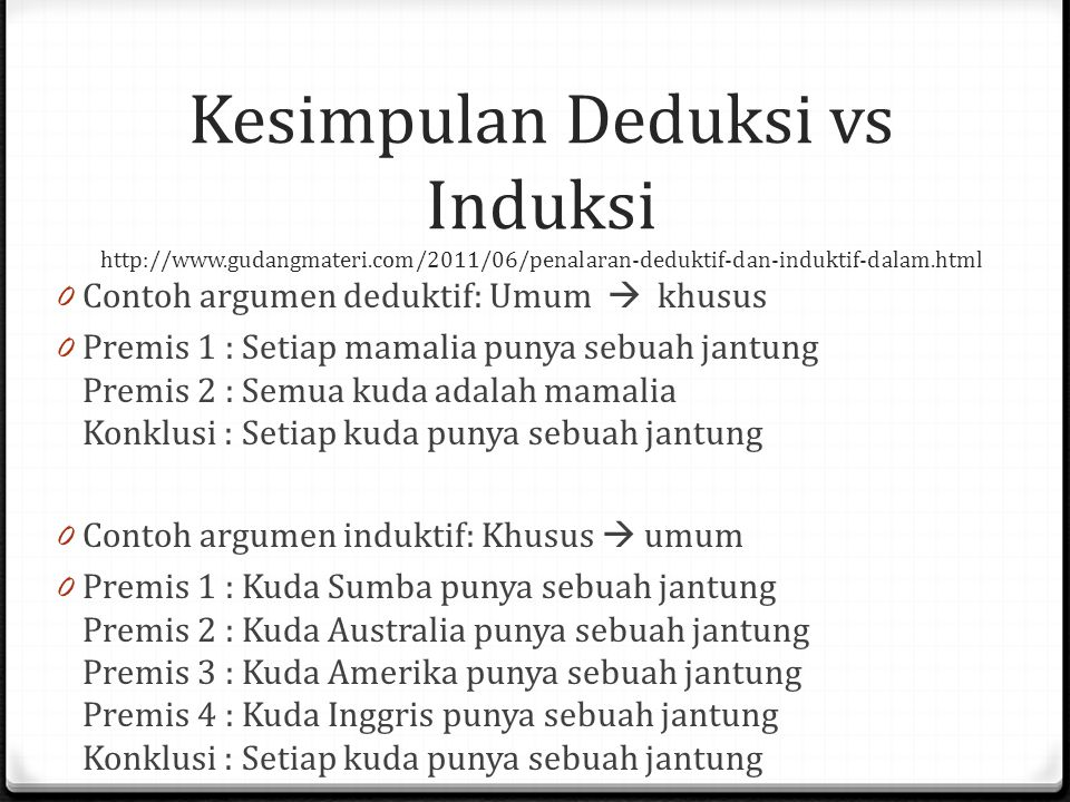 Kesimpulan Deduksi vs Induksi http://www. gudangmateri