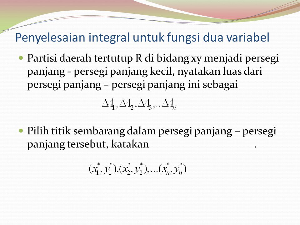 Penyelesaian integral untuk fungsi dua variabel