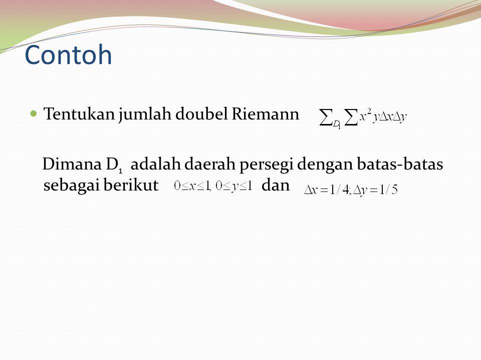 Contoh Tentukan jumlah doubel Riemann