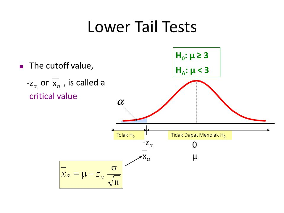 Lower Tail Tests a H0: μ ≥ 3 HA: μ < 3 The cutoff value,