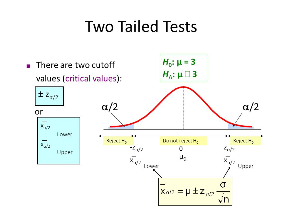 Two Tailed Tests /2 /2 H0: μ = 3 HA: μ ¹ 3