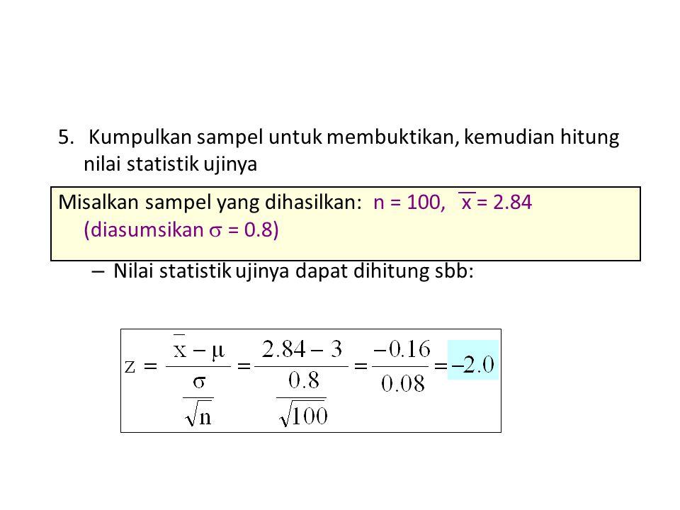 5. Kumpulkan sampel untuk membuktikan, kemudian hitung nilai statistik ujinya