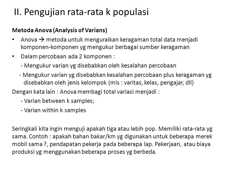 II. Pengujian rata-rata k populasi