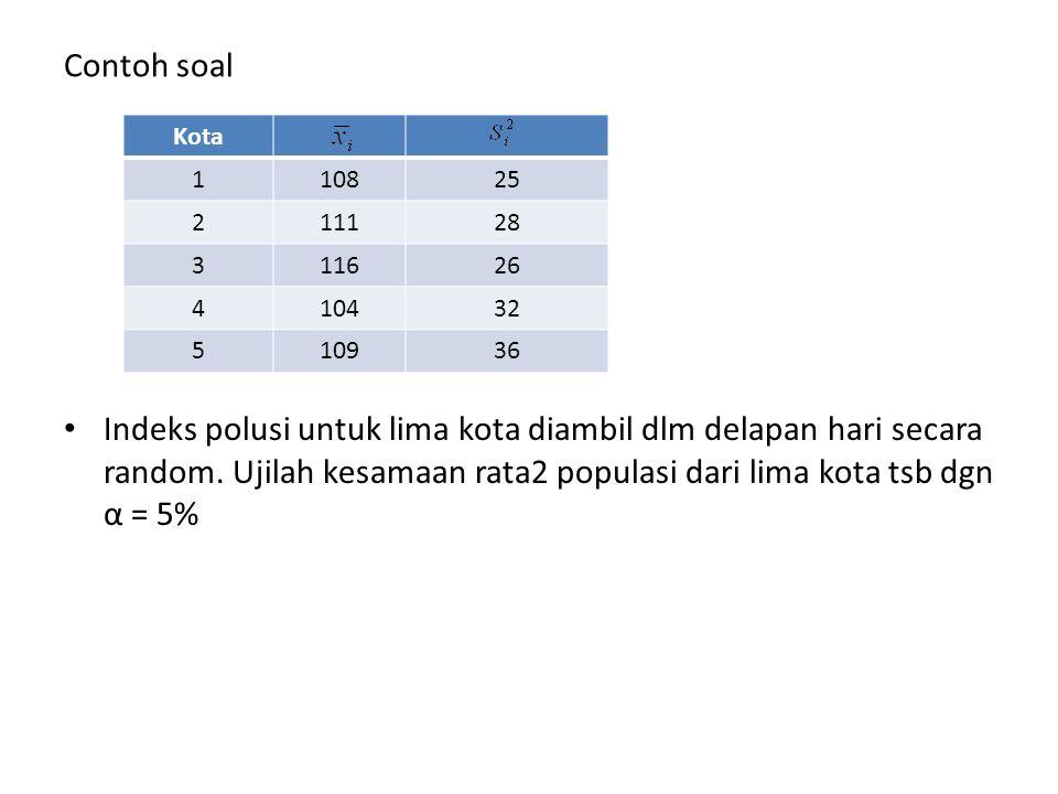 Contoh soal Indeks polusi untuk lima kota diambil dlm delapan hari secara random. Ujilah kesamaan rata2 populasi dari lima kota tsb dgn α = 5%