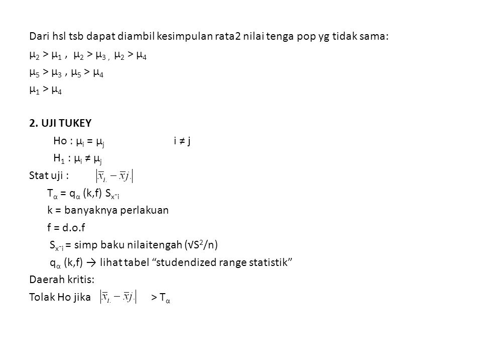 Dari hsl tsb dapat diambil kesimpulan rata2 nilai tenga pop yg tidak sama: µ2 > µ1 , µ2 > µ3 , µ2 > µ4 µ5 > µ3 , µ5 > µ4 µ1 > µ4 2.
