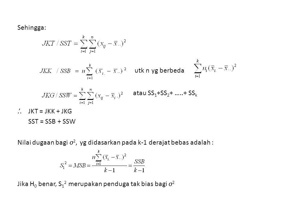 Sehingga: utk n yg berbeda atau SS1+SS2+ …. + SSk. '