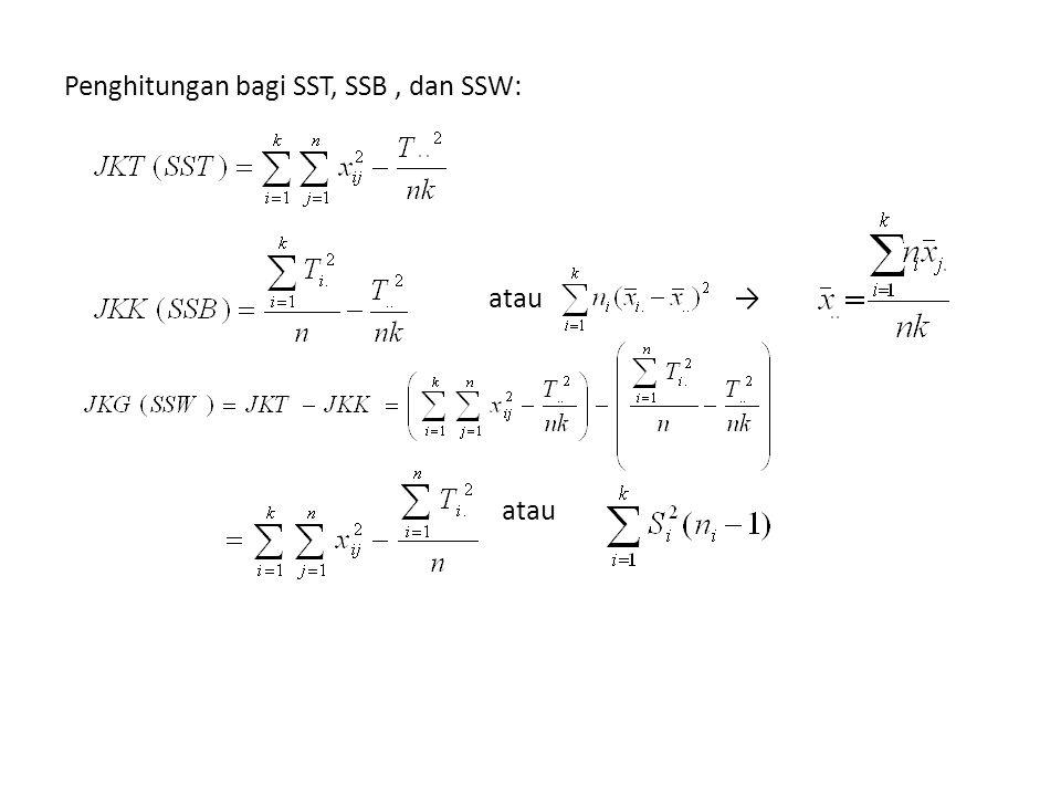 Penghitungan bagi SST, SSB , dan SSW: atau → atau