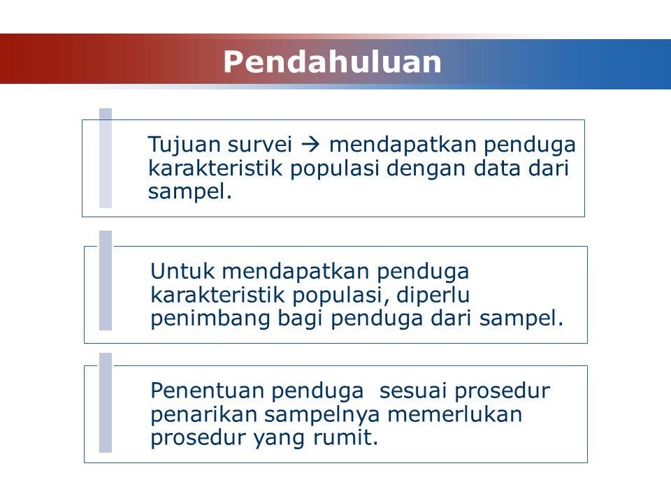 Pendahuluan Untuk mendapatkan penduga karakteristik populasi, diperlu penimbang bagi penduga dari sampel.