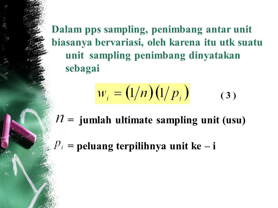 Dalam pps sampling, penimbang antar unit