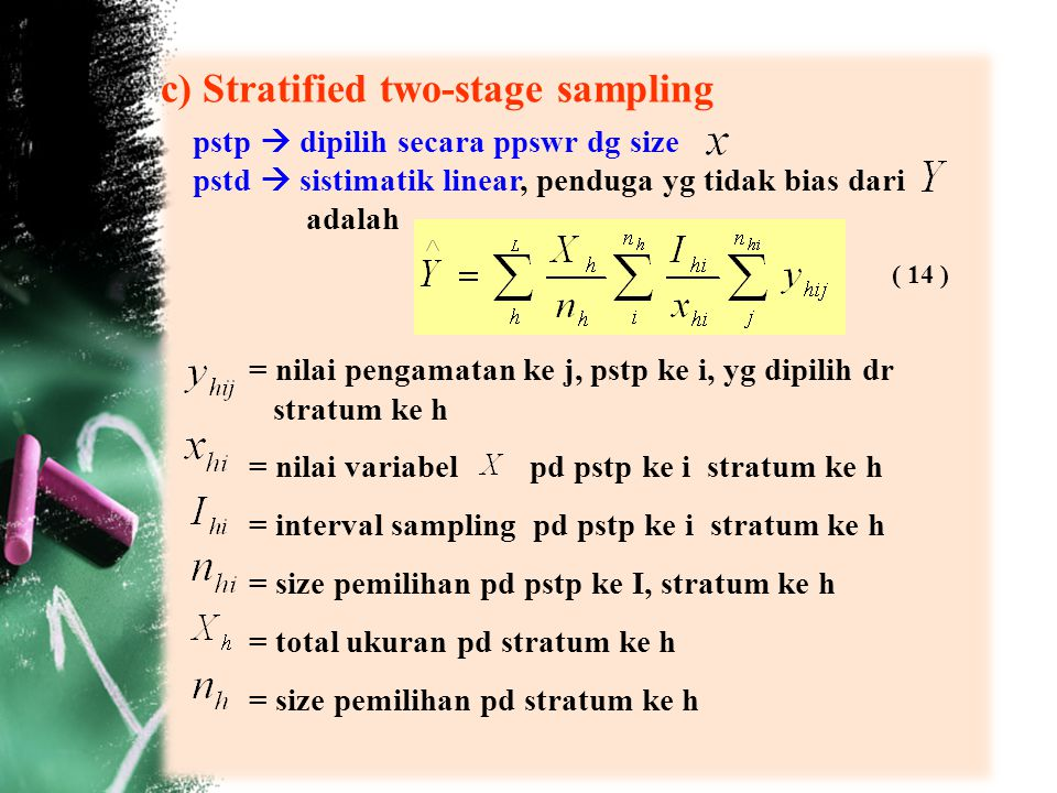 c) Stratified two-stage sampling