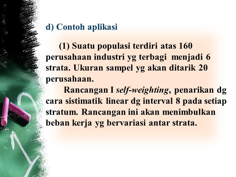 d) Contoh aplikasi (1) Suatu populasi terdiri atas 160 perusahaan industri yg terbagi menjadi 6 strata. Ukuran sampel yg akan ditarik 20 perusahaan.
