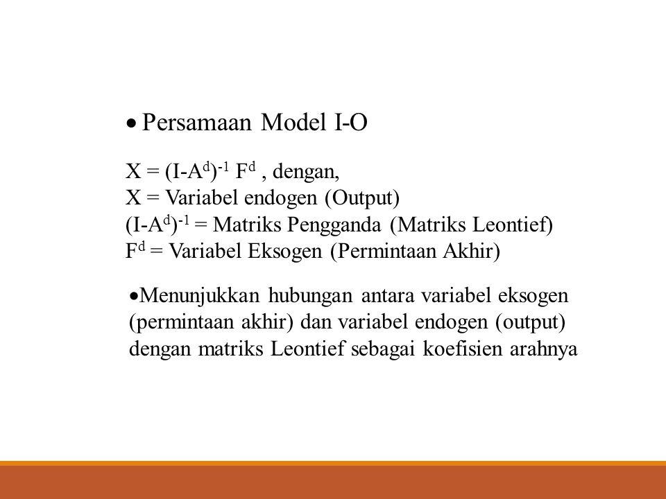 Persamaan Model I-O X = (I-Ad)-1 Fd , dengan,