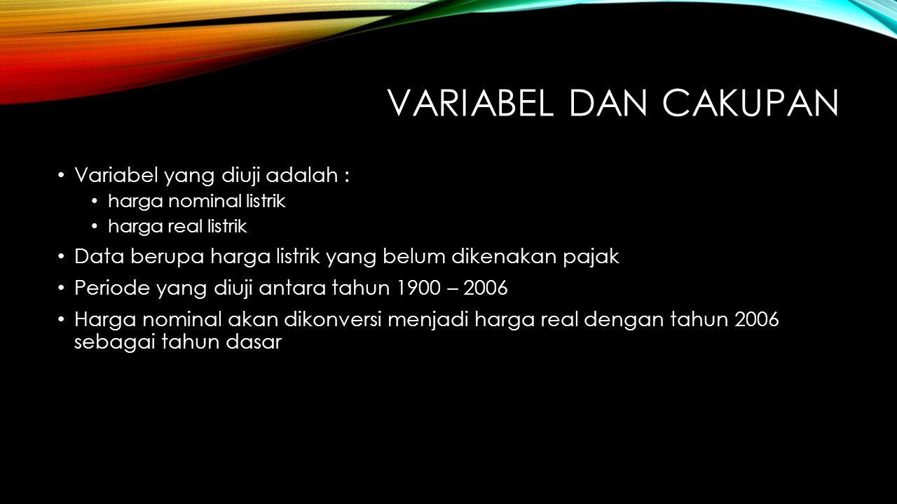 VARIABEL DAN CAKUPAN Variabel yang diuji adalah :