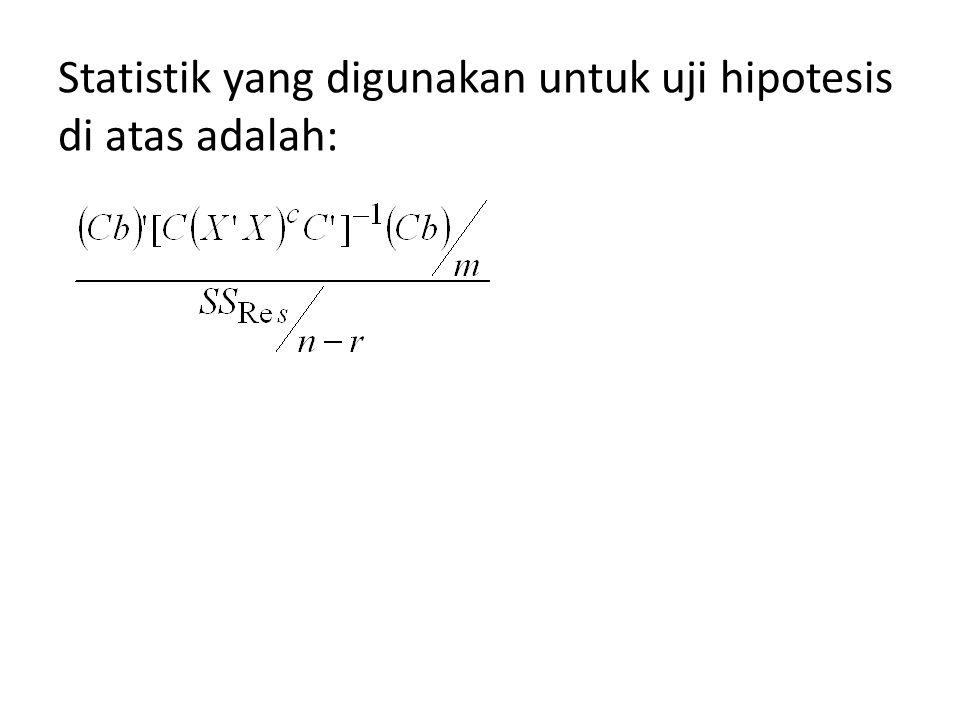 Statistik yang digunakan untuk uji hipotesis di atas adalah: