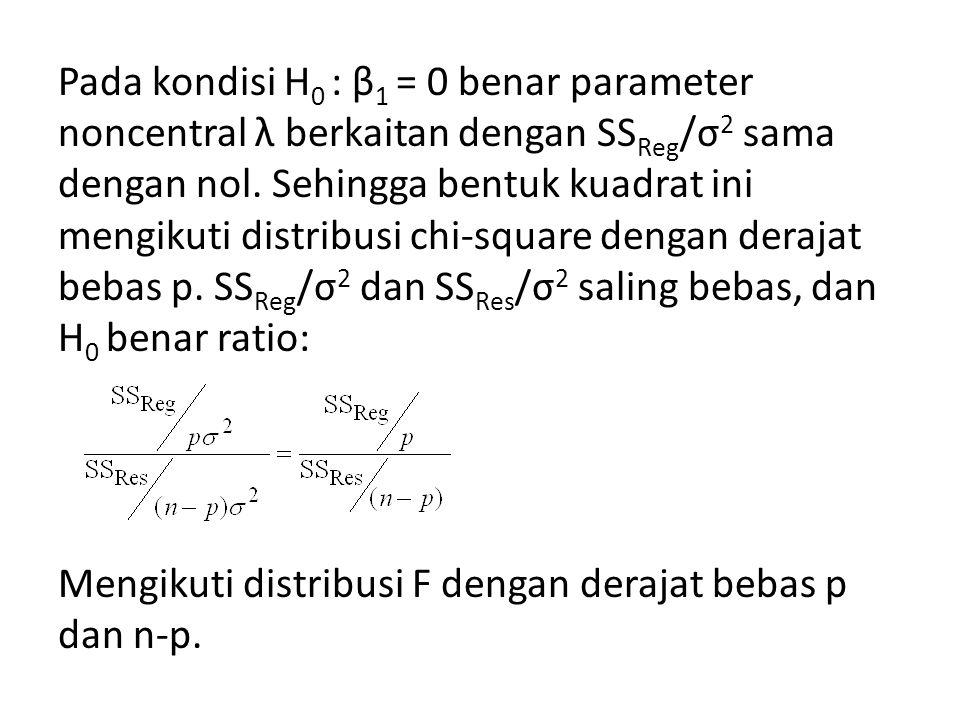 Pada kondisi H0 : β1 = 0 benar parameter noncentral λ berkaitan dengan SSReg/σ2 sama dengan nol.