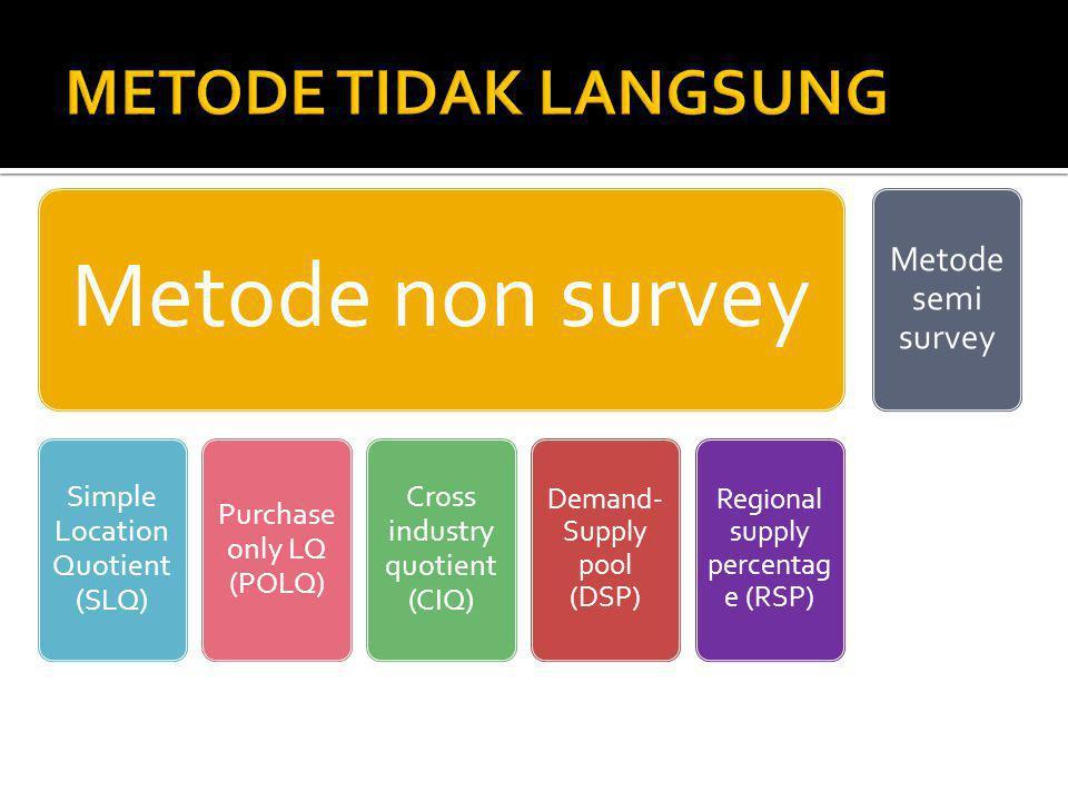 METODE TIDAK LANGSUNG Metode semi survey