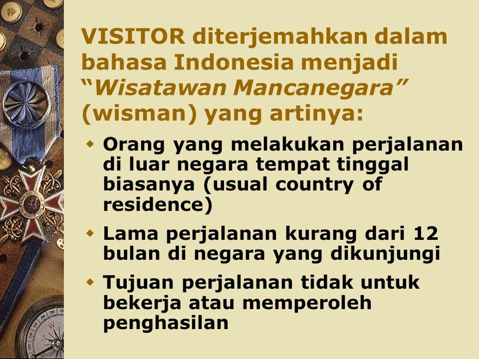 VISITOR diterjemahkan dalam bahasa Indonesia menjadi Wisatawan Mancanegara (wisman) yang artinya: