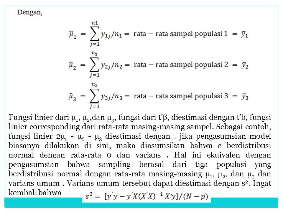 Fungsi linier dari µ1, µ2,dan µ3, fungsi dari t'β, diestimasi dengan t'b, fungsi linier corresponding dari rata-rata masing-masing sampel.