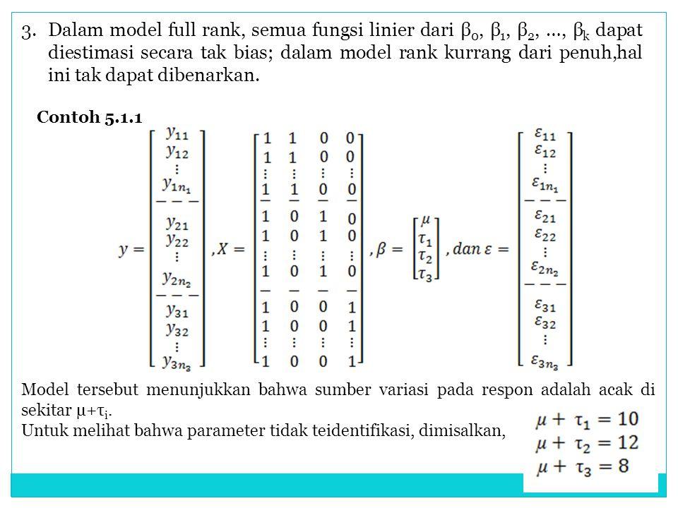 3. Dalam model full rank, semua fungsi linier dari β0, β1, β2, …, βk dapat diestimasi secara tak bias; dalam model rank kurrang dari penuh,hal ini tak dapat dibenarkan.