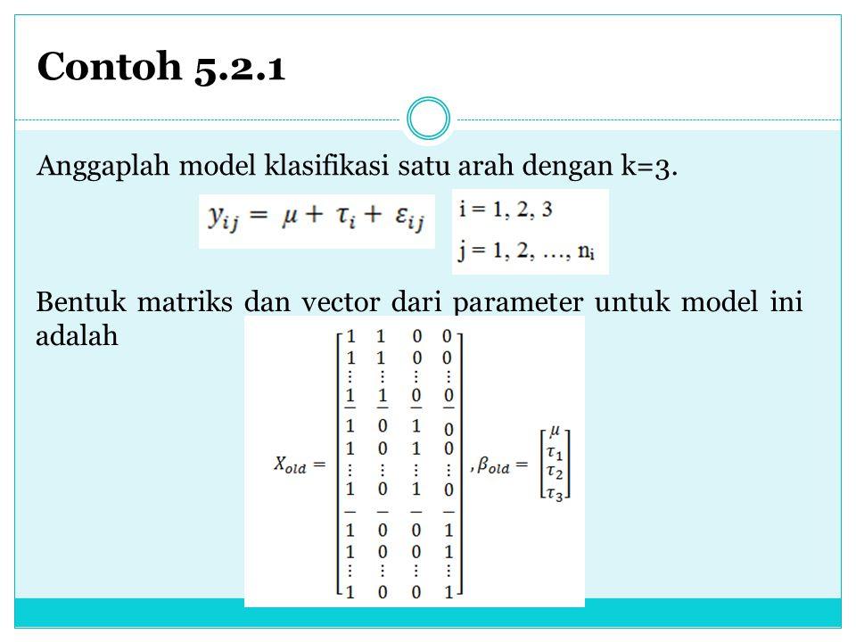 Contoh 5.2.1 Anggaplah model klasifikasi satu arah dengan k=3.
