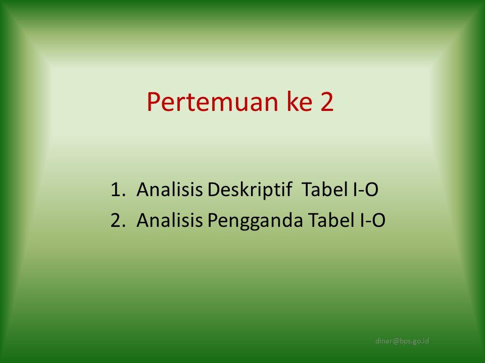 1. Analisis Deskriptif Tabel I-O 2. Analisis Pengganda Tabel I-O