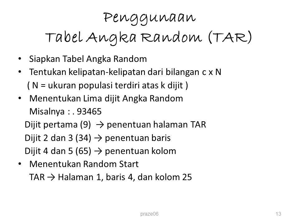 Penggunaan Tabel Angka Random (TAR)