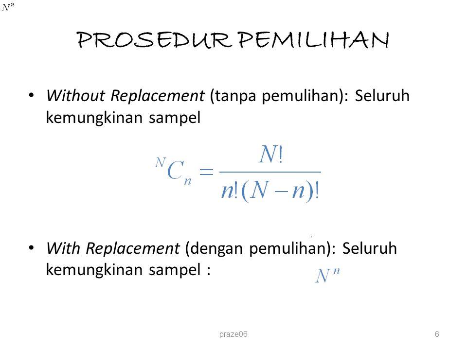 PROSEDUR PEMILIHAN Without Replacement (tanpa pemulihan): Seluruh kemungkinan sampel.