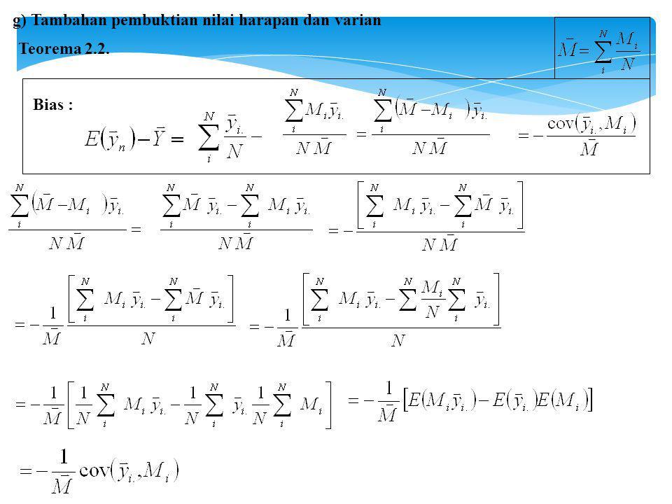 g) Tambahan pembuktian nilai harapan dan varian
