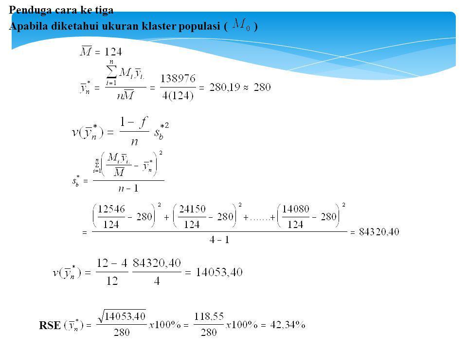 Penduga cara ke tiga Apabila diketahui ukuran klaster populasi ( ) RSE