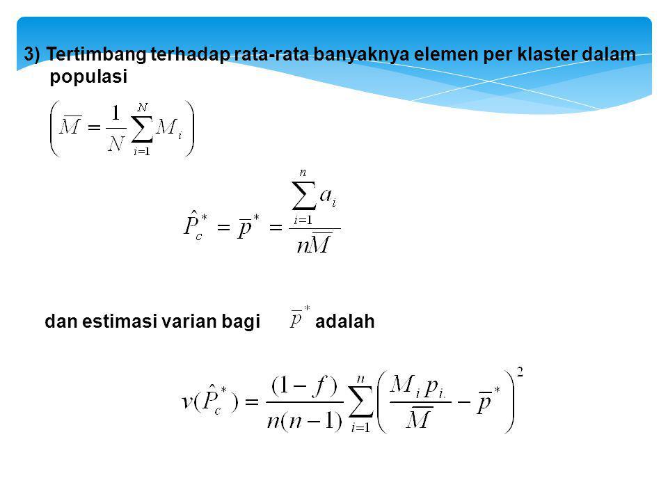 3) Tertimbang terhadap rata-rata banyaknya elemen per klaster dalam