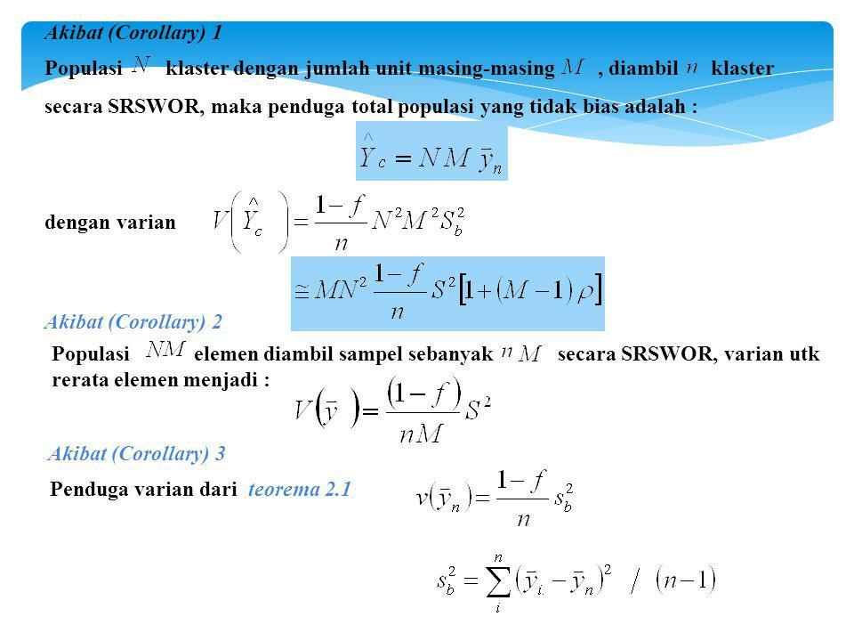 Akibat (Corollary) 1 Populasi klaster dengan jumlah unit masing-masing , diambil klaster.