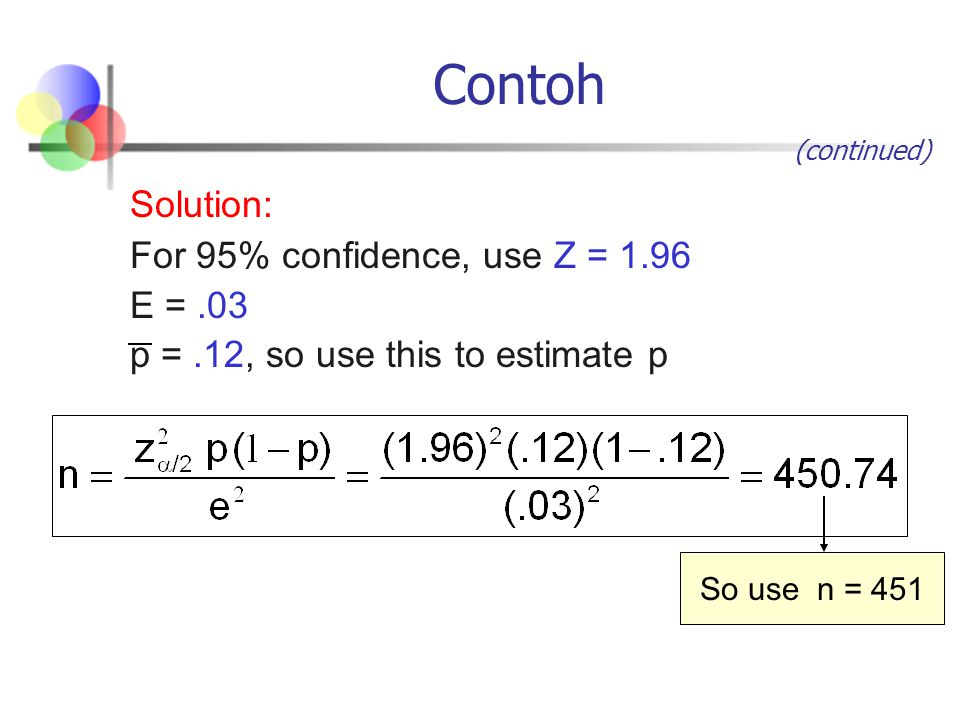 Contoh Solution: For 95% confidence, use Z = 1.96 E = .03