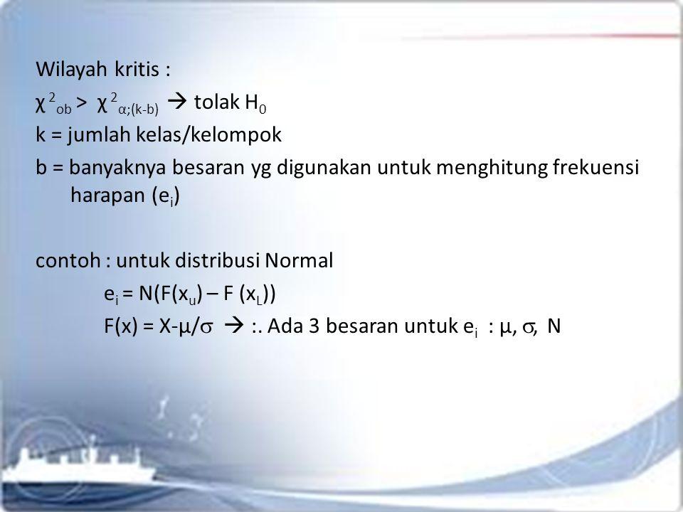 Wilayah kritis : χ 2ob > χ 2α;(k-b)  tolak H0. k = jumlah kelas/kelompok.