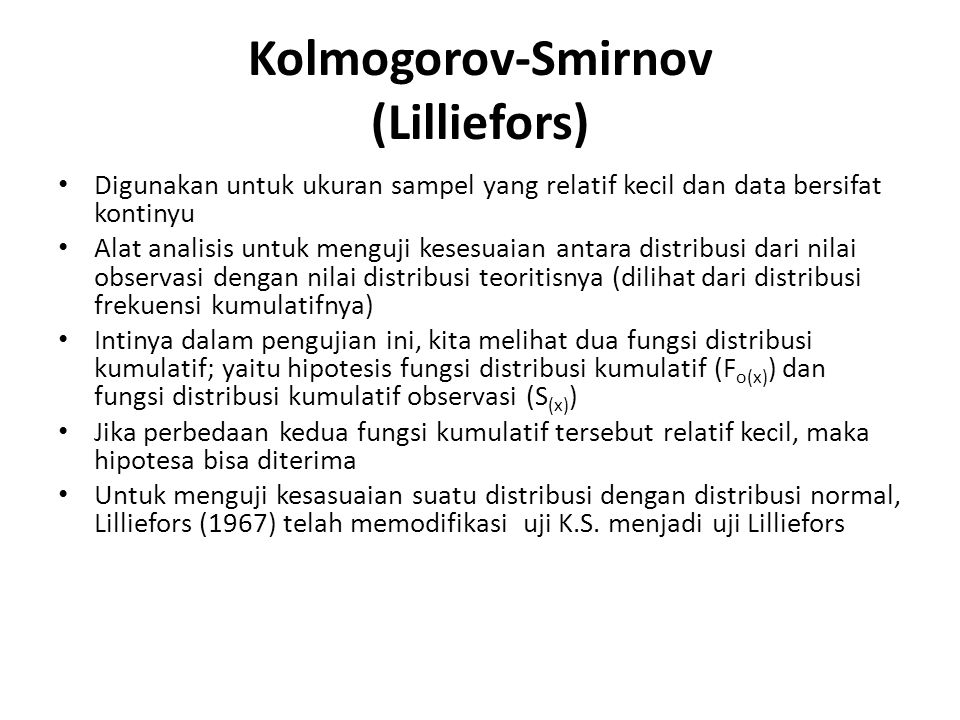 Kolmogorov-Smirnov (Lilliefors)
