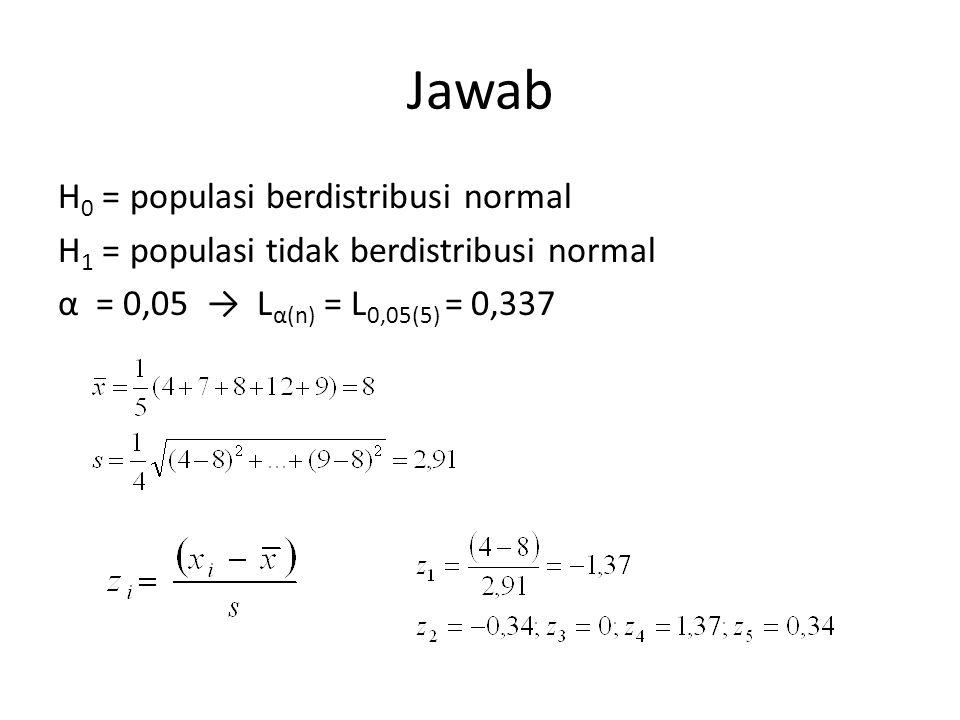 Jawab H0 = populasi berdistribusi normal