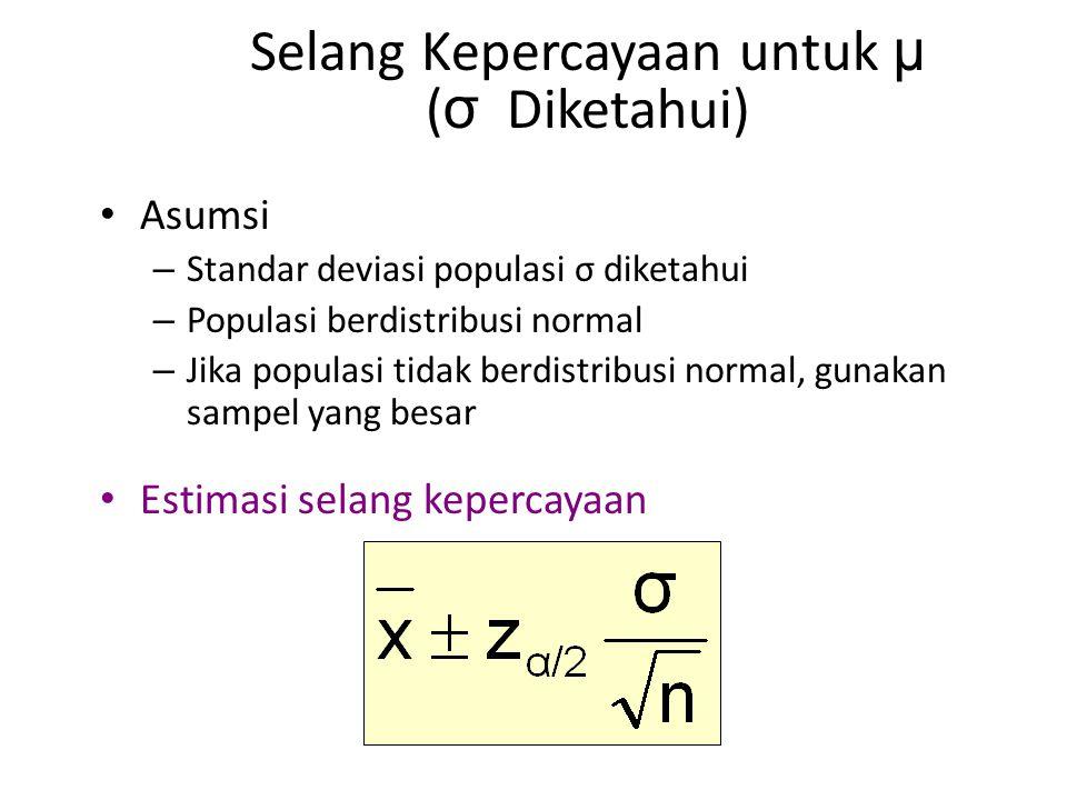 Selang Kepercayaan untuk μ (σ Diketahui)