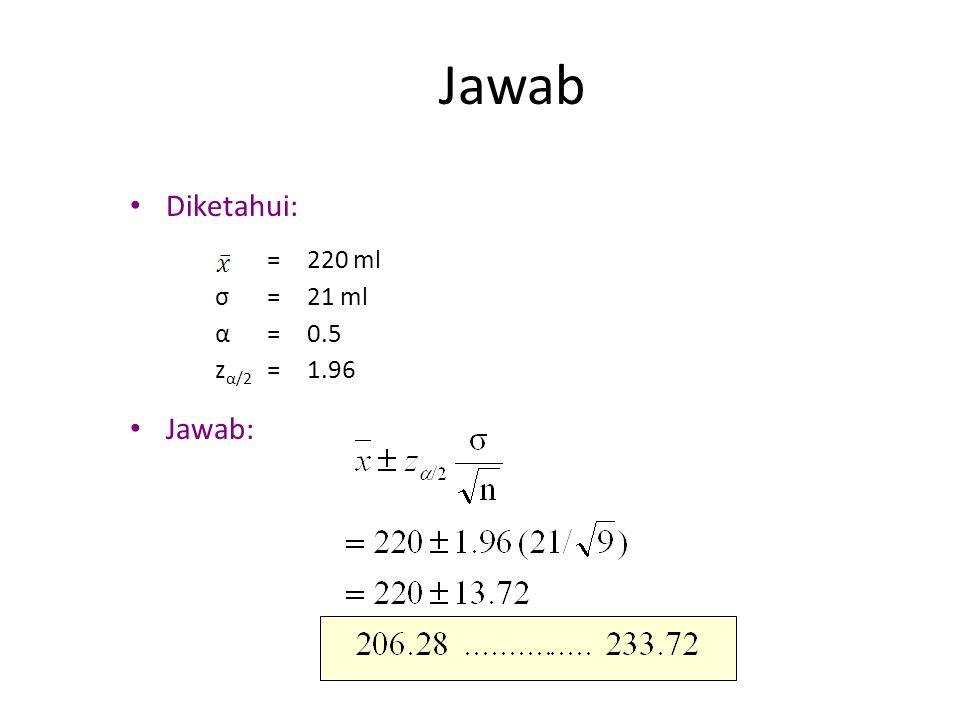 Jawab Diketahui: Jawab: = 220 ml σ 21 ml α 0.5 zα/2 1.96